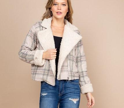 plaid sherpa jacket
