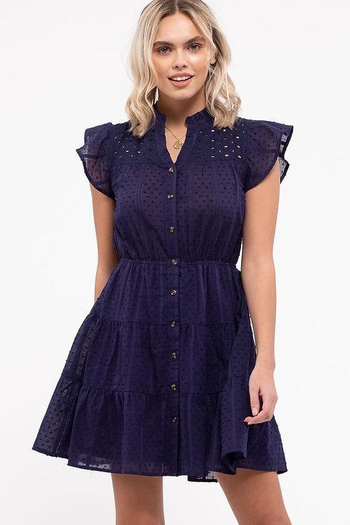 swiss dot tier mini dress
