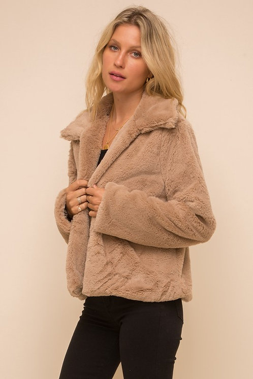 faux fur jacket w/leopard lining