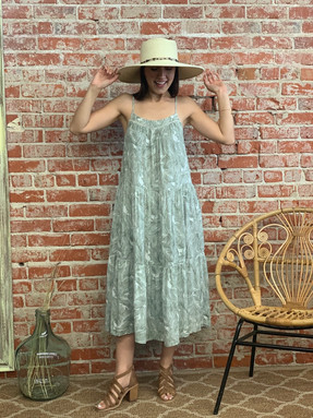 leaf gauze midi dress