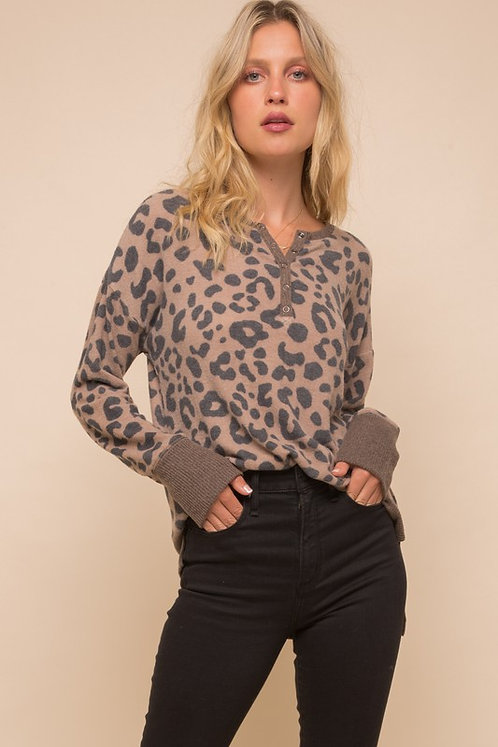 brush knit leopard top