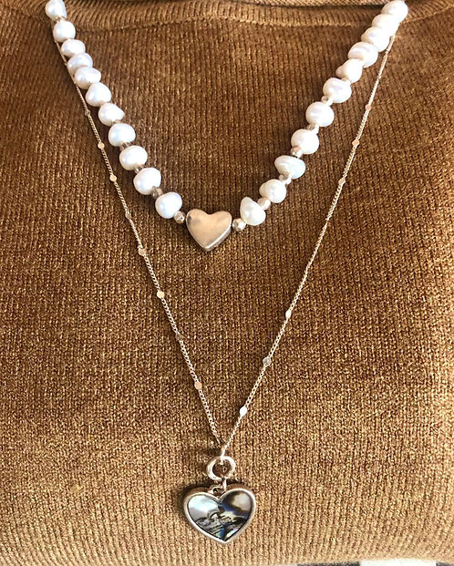 pearl & abalone heart necklaces