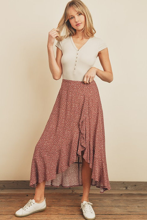 wrap ditsy skirt