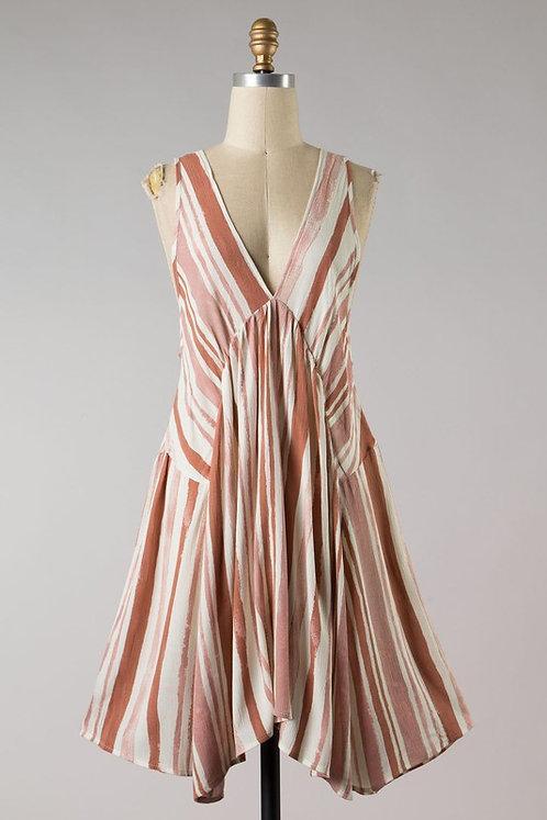 watercolor stripe dress