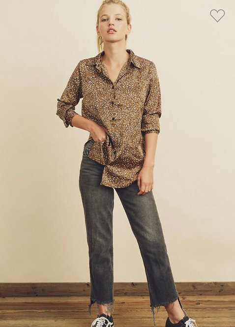 Satin leopard blouse