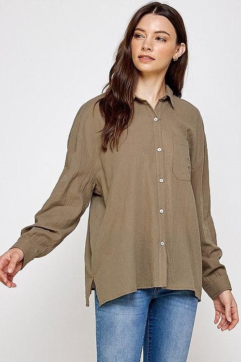 one pocket button down top