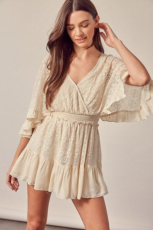 angel wing lace mini dress