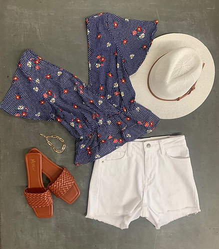 surplice dotted floral top