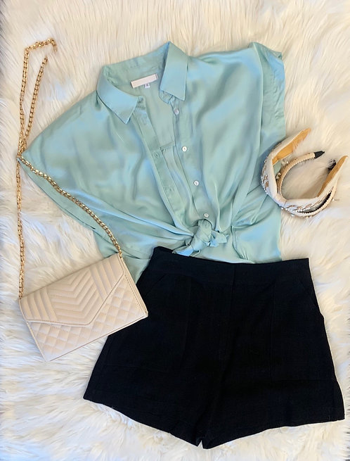 satin button down shirt