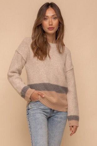 color block tattered hem sweater