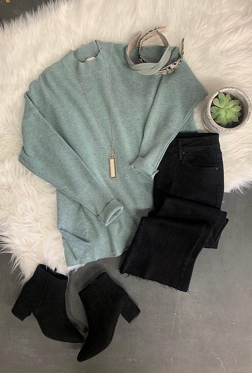 mock neck heathered sweater