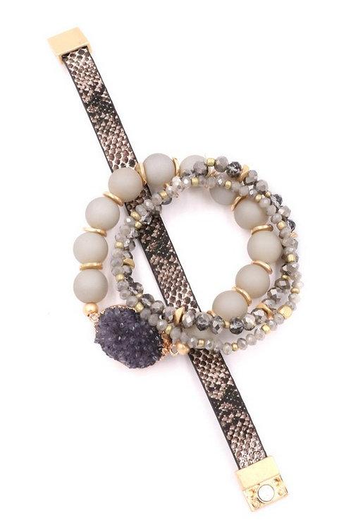 Druzy stone faceted bead magnetic bracelet set.