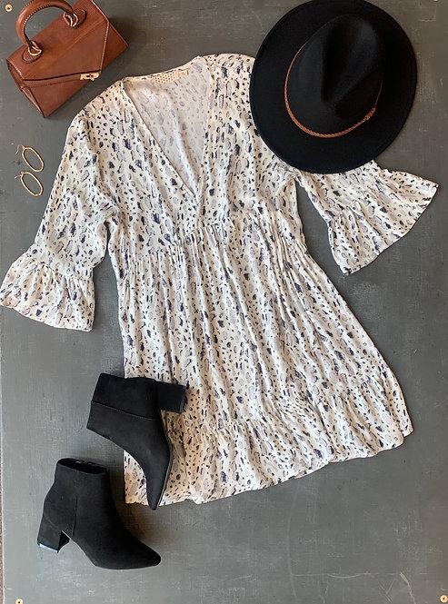 spotted v-neck dress