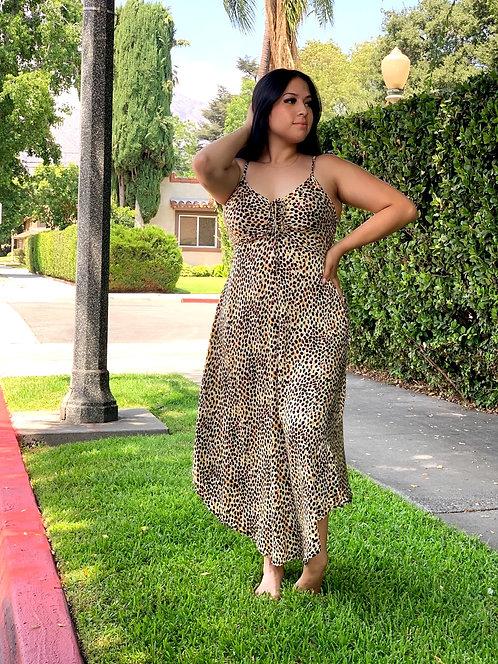 multi leopard cinch midi dress