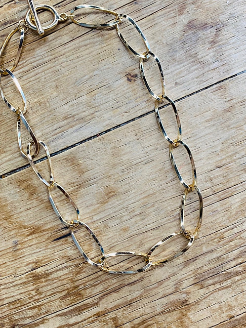 etched gold link necklace