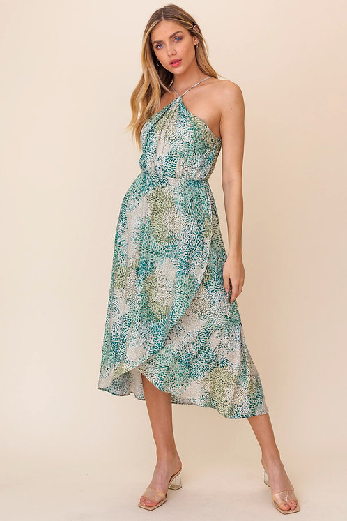 racer leaf print midi dress