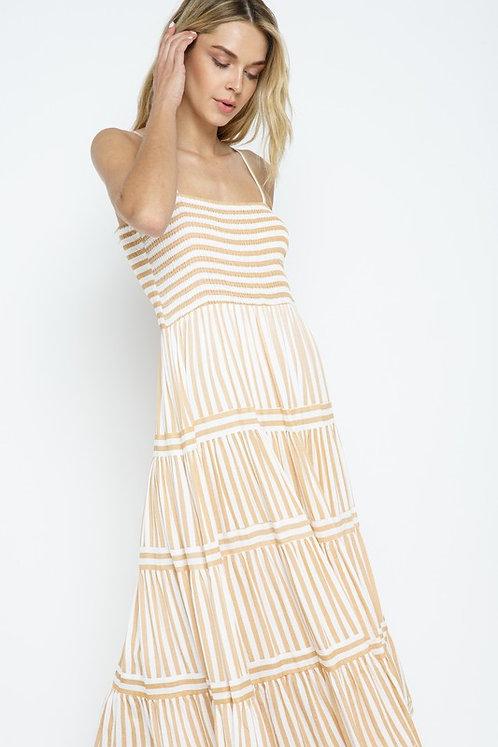 tier stripe midi dress