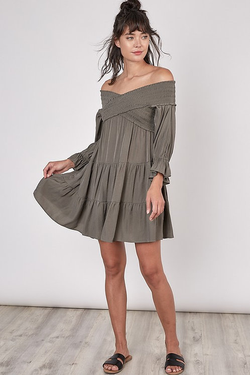 ots smocked tier mini dress