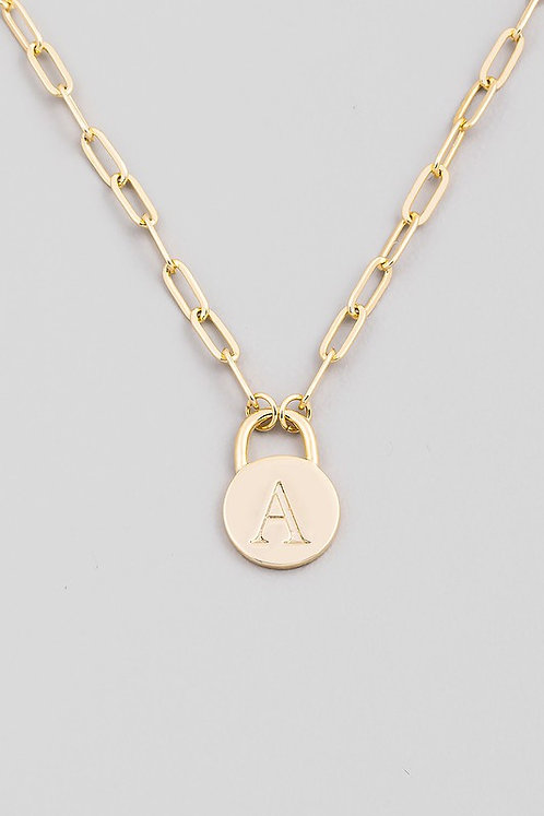chain link initial necklace   A