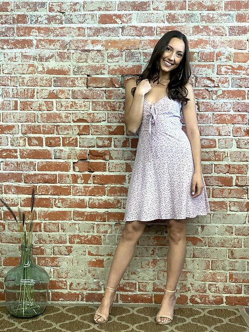 violet tie back mini dress