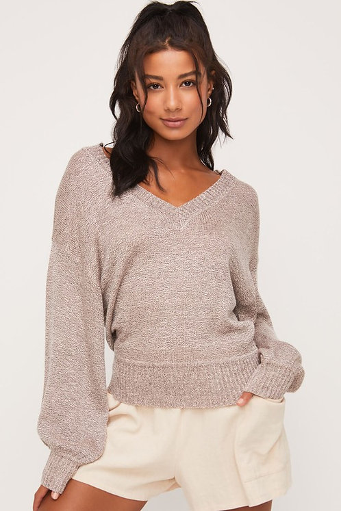 V-neck puff sleeve sweater