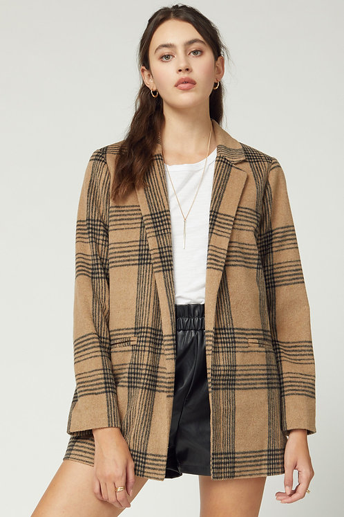 wool blend plaid blazer