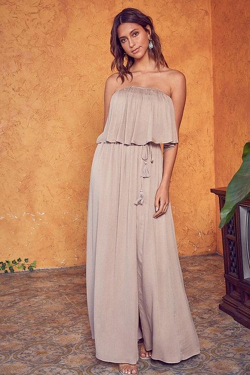 open back strapless maxi dress