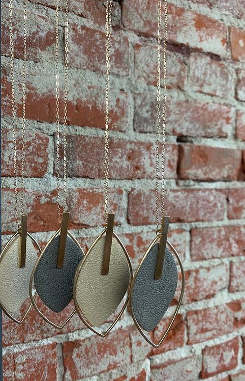 faux leather leaf long necklace