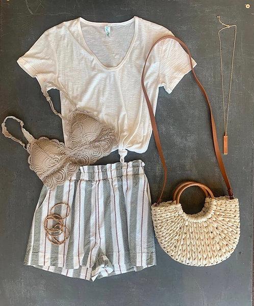 stripe linen paper bag shorts