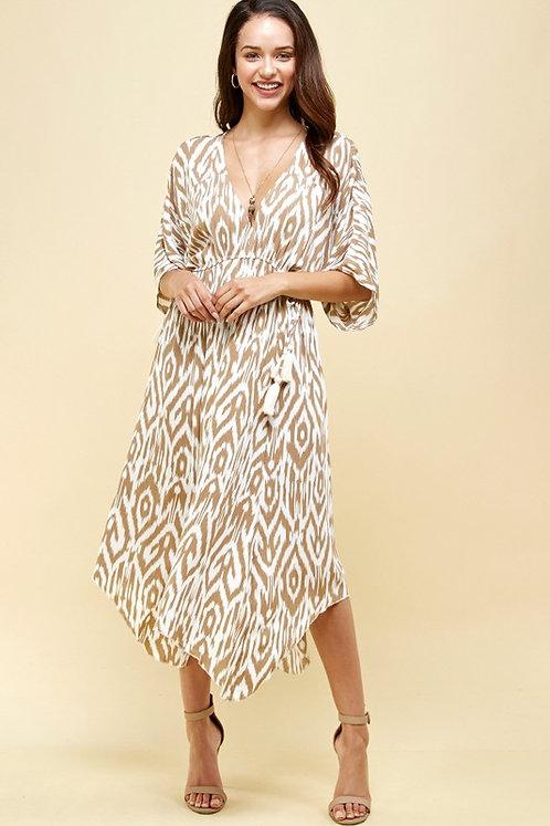 hanky printed midi dress