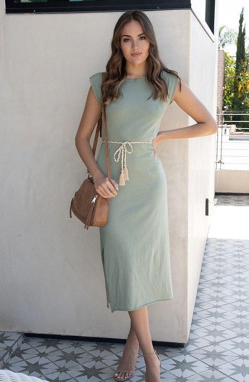 belted shoulder pad midi dress