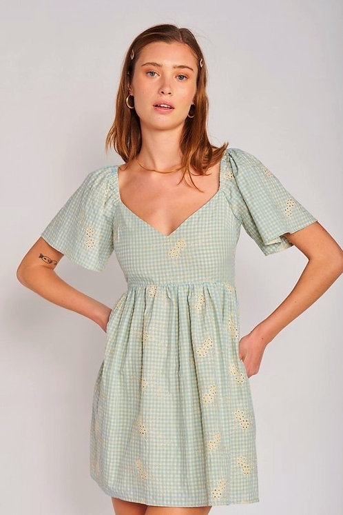 gingham eyelet babydoll dress