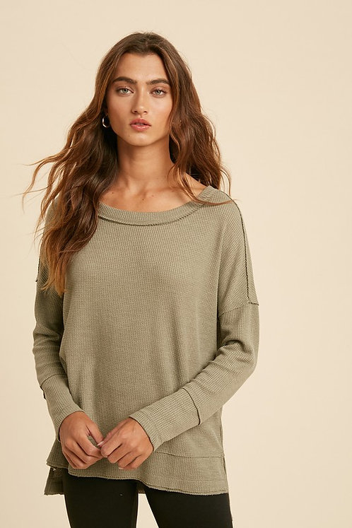 thermal raw edge boatneck top
