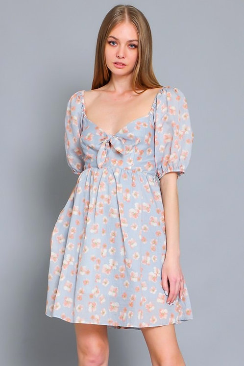 flower tie front dress