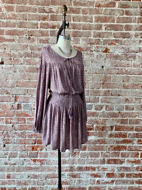 diamond print smock waist dress