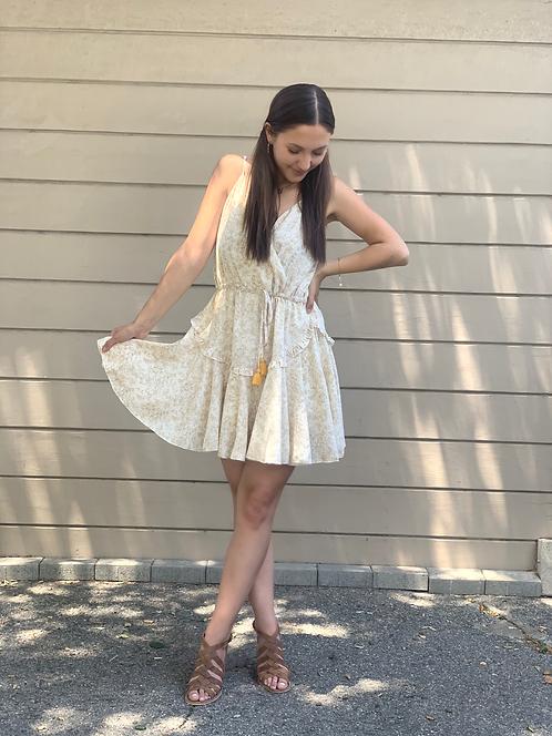ditsy faux wrap  mini dress