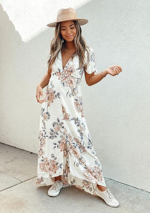 swiss dot floral maxi dress