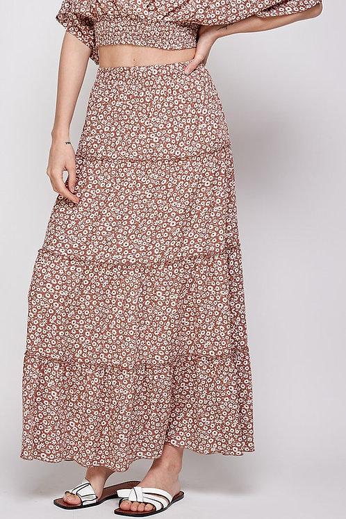floral tier maxi skirt