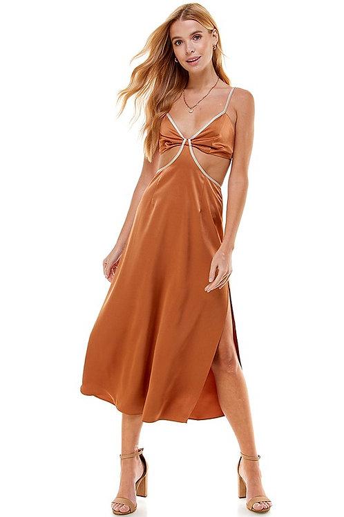 colorblock cut-out satin dress