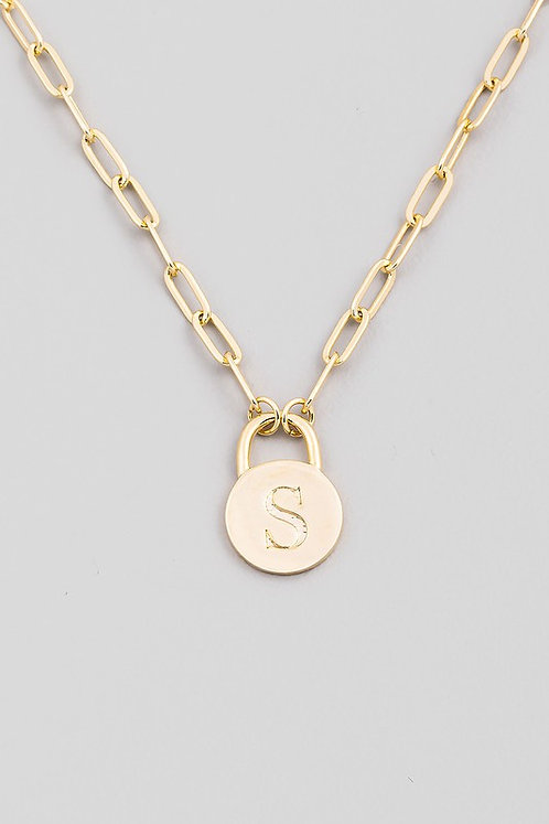 chain link initial necklace   S