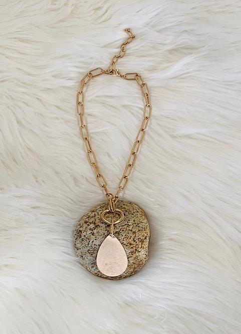 matte gold pendant chain link necklace