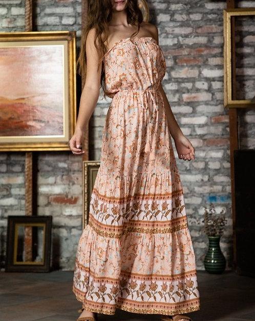 strapless floral border maxi dress