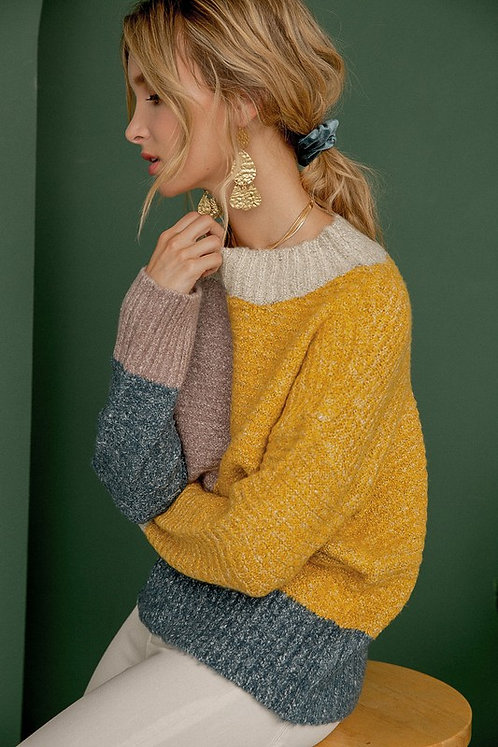 bold color block pullover sweater