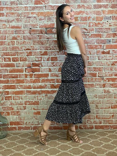 Flower tier midi skirt
