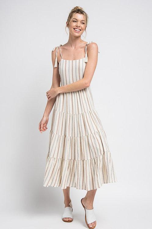 stripe open tie back midi dress