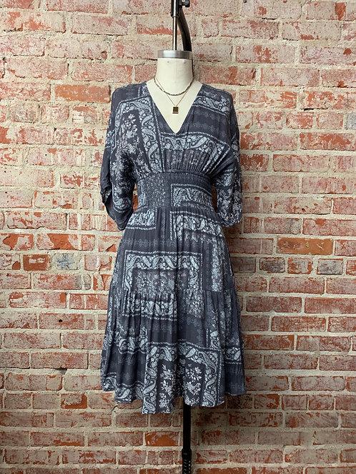 paisley tier double v mini dress