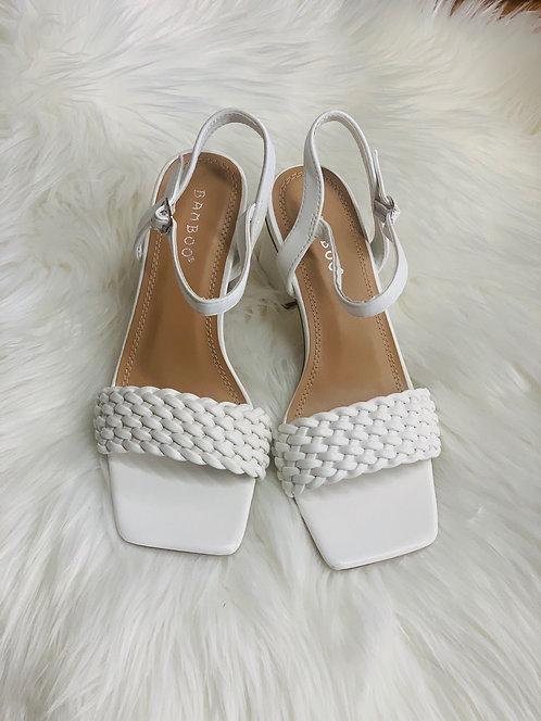 Braided strap block heel