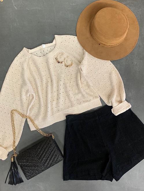 pinhole balloon sleeve crop sweater