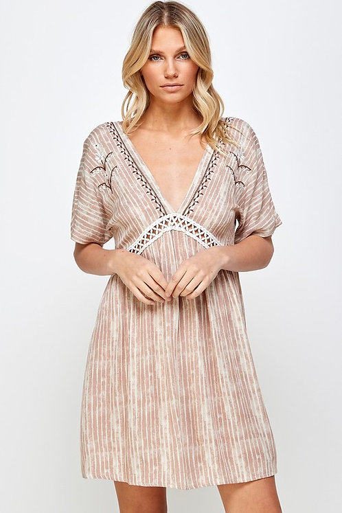embroidered lattice trim mini dress