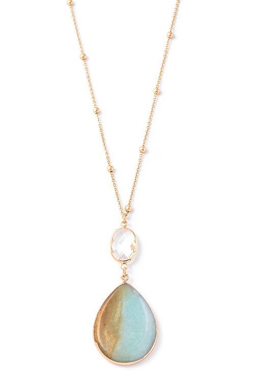 teardrop stone long necklace